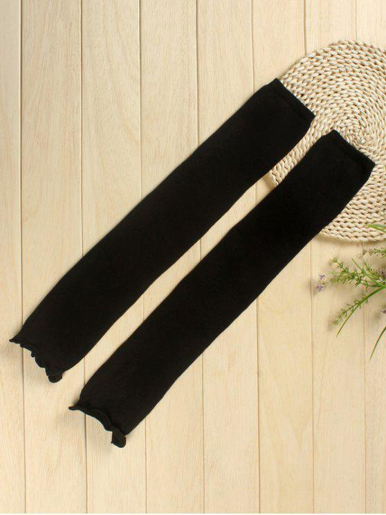 outfit Solid Color Knitted Leg Warmers - BLACK