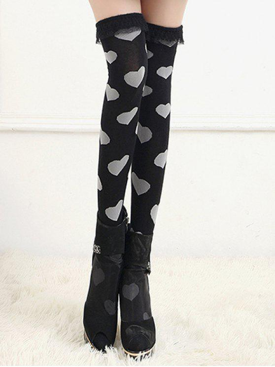 38aa1d16cc0 17% OFF  2019 Cute Heart Lace Thigh High Socks In BLACK