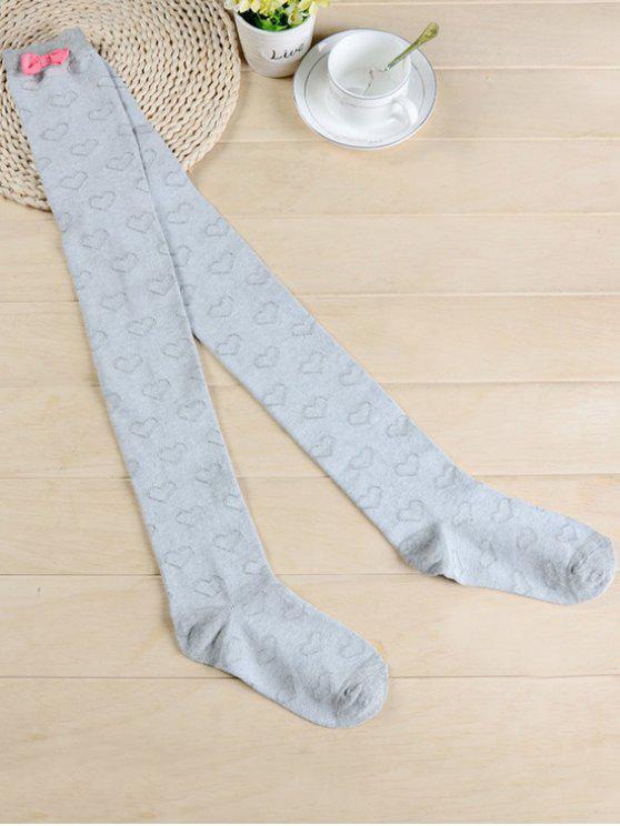 shops Cute Bowknot Heart Thigh High Socks - LIGHT GRAY