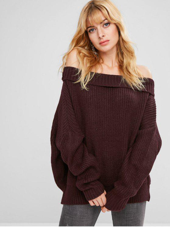 fancy Chunky Knit Loose Fit Sweater - PLUM PURPLE ONE SIZE