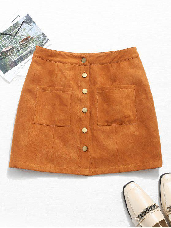 women Button Front Pocket Mini Skirt - BROWN S