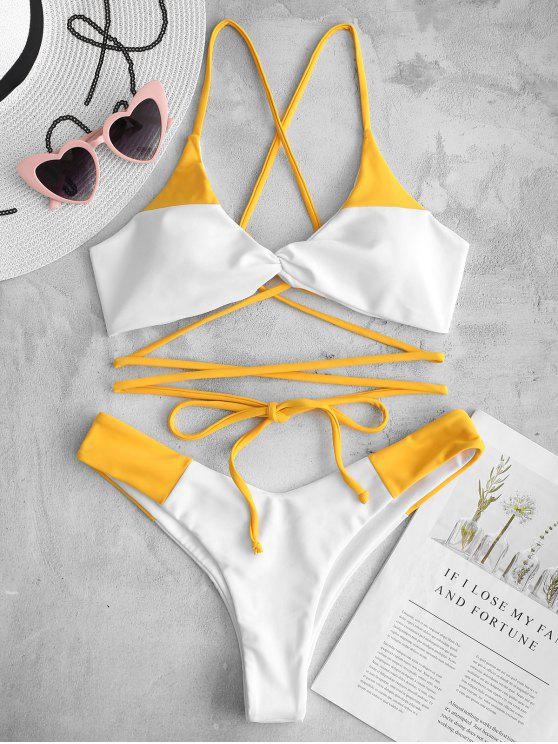 sale ZAFUL Lace-up Twist Two Tone Bikini Set - BRIGHT YELLOW L