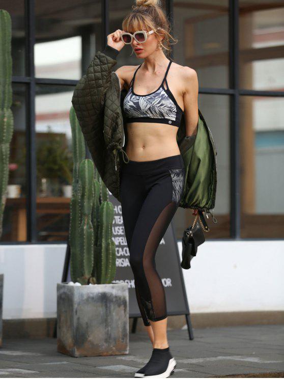 outfits ZAFUL Bamboo Print Mesh Insert Capri Leggings - BLACK S