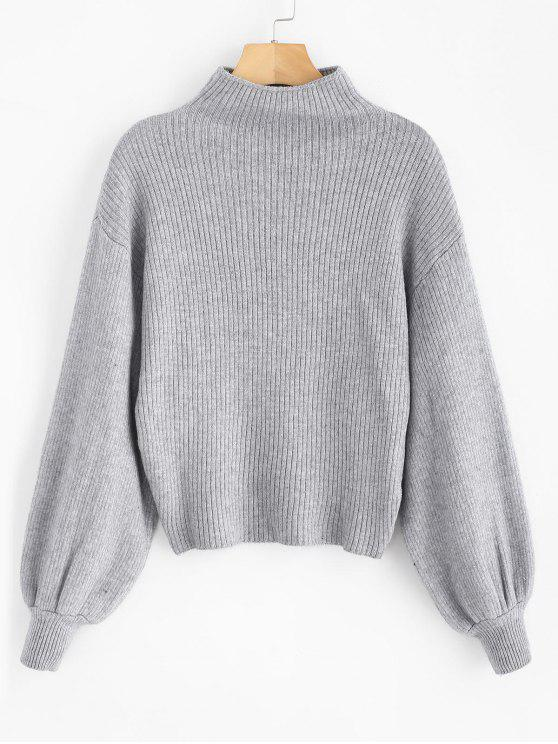 hot Lantern Sleeve Mock Neck Plain Sweater - GRAY CLOUD ONE SIZE