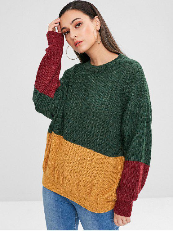 new ZAFUL Pullover Loose Color Block Sweater - MULTI ONE SIZE