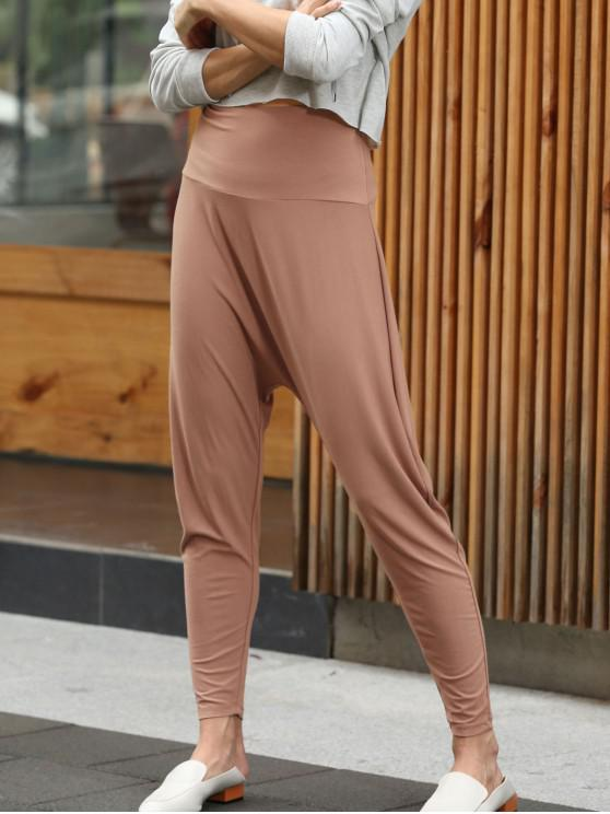 ZAFUL Pantalon Harem à Taille Haute - Saumon Orange S