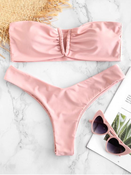ZAFUL V Cut Bandeau Bikini Set - بينك الزهر S