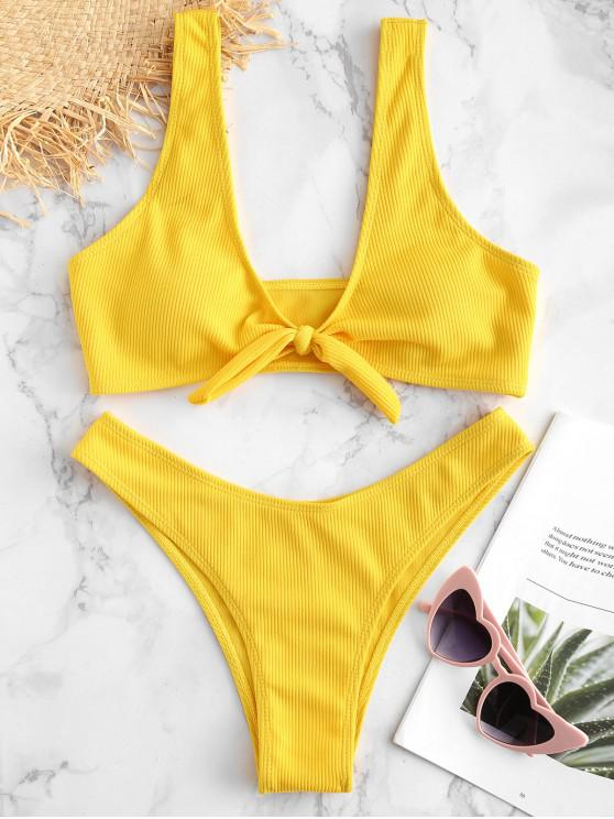 affordable Tie Front Ribbed Bikini Set - YELLOW S