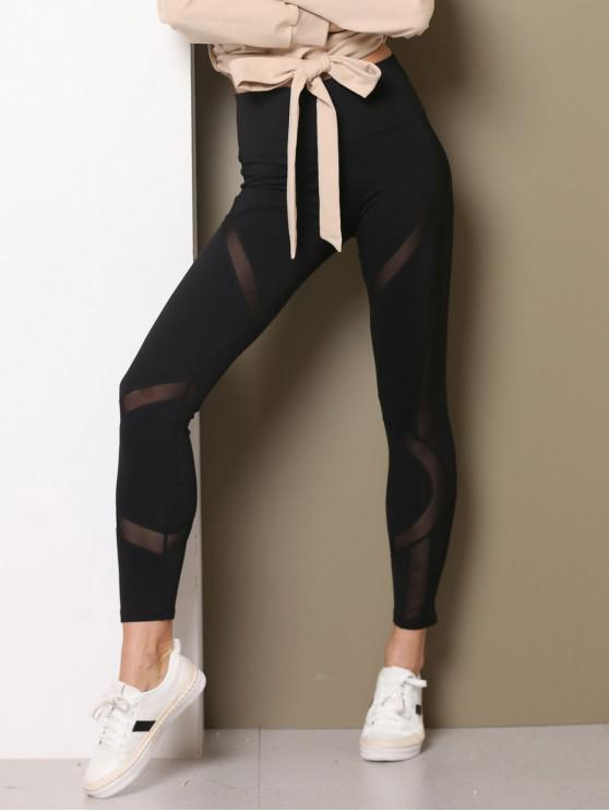 latest High Waist Mesh Insert Workout Leggings - BLACK M