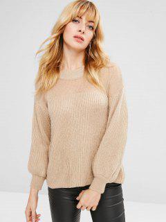 Openwork Drop Shoulder Lantern Sleeve Sweater - Beige