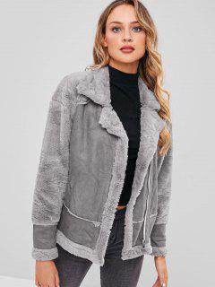 Faux Suede Drop Shoulder Zipper Coat - Gray L