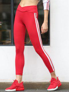Tulip Waist Striped Sports Leggings - Red S