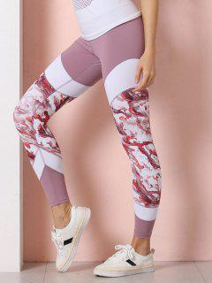 Abstract Print High Waisted Sports Leggings - Pink L