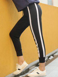Contrast Drawstring Sports Jogger Pants - Black L