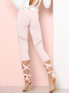 Sports Mesh Panel Cross Tied Crop Leggings - Pink Bubblegum L