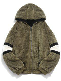Faux Fur Panel Hooded Coat - Army Green 2xl