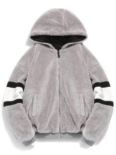 Faux Fur Panel Hooded Coat - Dark Gray 2xl