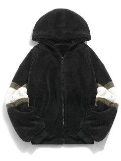 Faux Fur Panel Hooded Coat - Black L