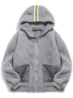 Faux Fur Hooded Zip Up Coat - Gray M