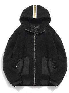 Faux Fur Hooded Zip Up Coat - Black M