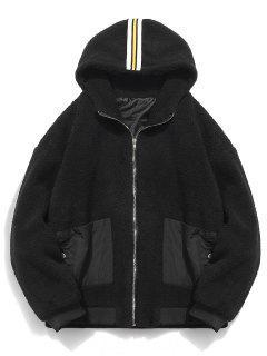 Faux Fur Hooded Zip Up Coat - Black Xl