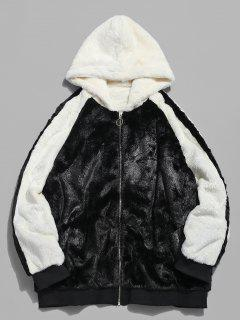 Hooded Faux Fur Color Block Coat - Black 2xl