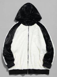 Hooded Faux Fur Color Block Coat - White L