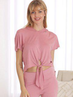 Batwing Front Knot Sports Hooded Tee - Pink M