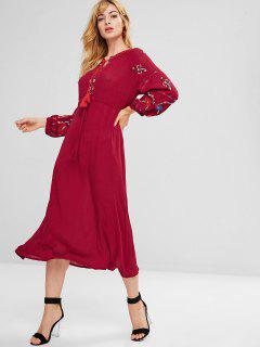 Embroidered Keyhole Raglan Sleeve Dress - Red