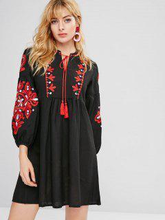 Flower Embroidered Keyhole Tassel Dress - Black