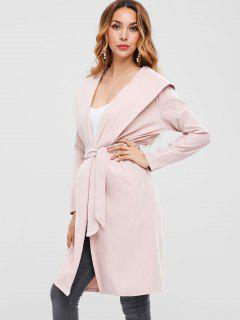 Knee Length Hooded Wrap Coat - Pink S