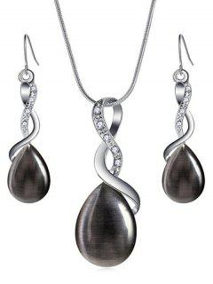 Sparkly Rhinestone Inlaid Water Drop Jewelry Set - Black