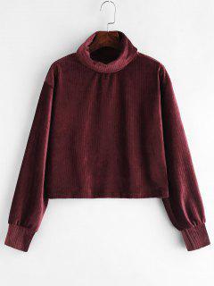 Turtleneck Drop Shoulder Velvet Sweatshirt - Plum Velvet L