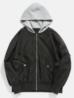 Color Spliced Vintage Hooded Jacket - Black 2xl