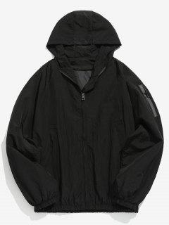 Sleeve Pocket Design Hooded Jacket - Black L