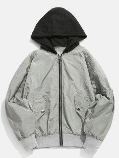 Color Spliced Vintage Hooded Jacket - Gray Goose L