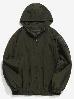 Sleeve Pocket Design Hooded Jacket - Army Green L