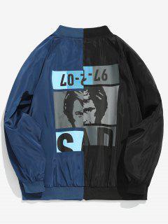 Graphic Pattern Contract Color Jacket - Lapis Blue L