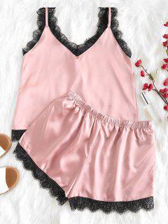 Scalloped Cami Top And Shorts Pajama Set - Lipstick Pink M