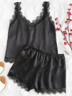 Scalloped Cami Top And Shorts Pajama Set - Black M