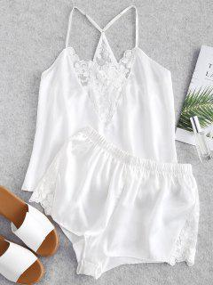 Satin Embroidered Mesh Cami Pajama Set - White M