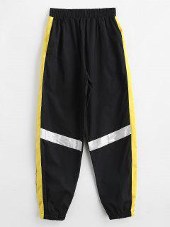 High Waisted Striped Jogger Pants - Black Xl