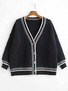 Shiny Thread Stripes Button Up Cardigan - Black