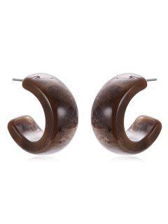 Simple Print Cuff Earrings - Deep Brown