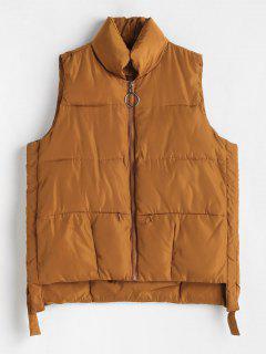 Zippered Pockets Quilted Waistcoat - Caramel Xl