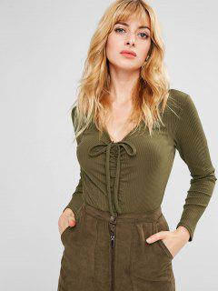 Cinched Snap Button Ribbed Bodysuit - Army Green M