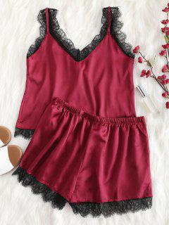 Scalloped Cami Top And Shorts Pajama Set - Red Wine L