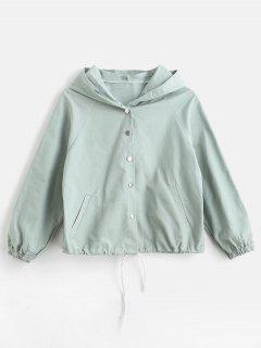 Cat Print Raglan Sleeve Hooded Jacket - Pale Blue Lily M