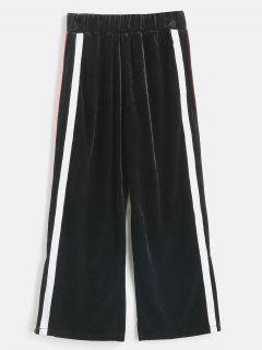 Velvet Striped Side Slit Pants - Black M