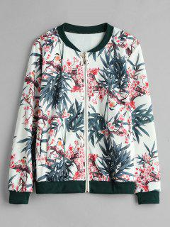 Zip Up Floral Bomber Jacket - Blanco M